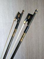 10pc PRO light carbon fiber 4/4 violin bow copper parts black+white horse hair