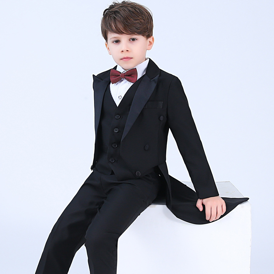 2018 New Kids Tuxedo Suit Black Suits Blazer Host Piano Costume Children Boys Wedding Clothes Formal Boy School Tuxedos