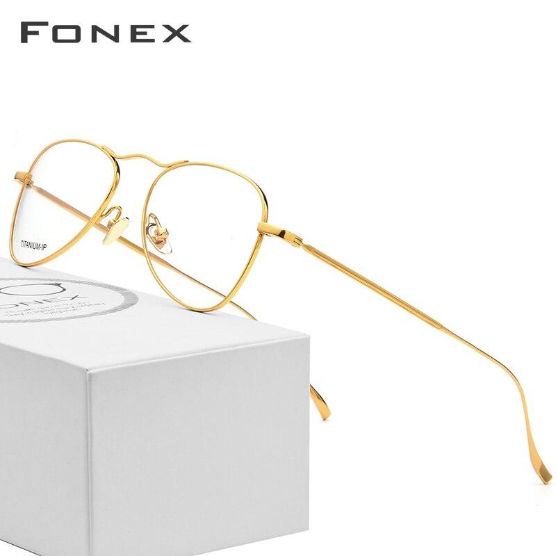 B Titânio Puro Óculos de Armação Homens Ultraleve New Mulheres Ouro Óculos de Miopia Prescrição Óptica Óculos de Aviação de Alta Qualidade