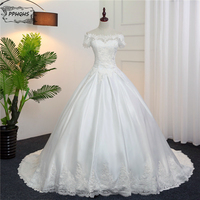 Vestido De Novia White Ball Gown Wedding Dresses 2017 Boat Neck Short Sleeves Lace Satin Wedding
