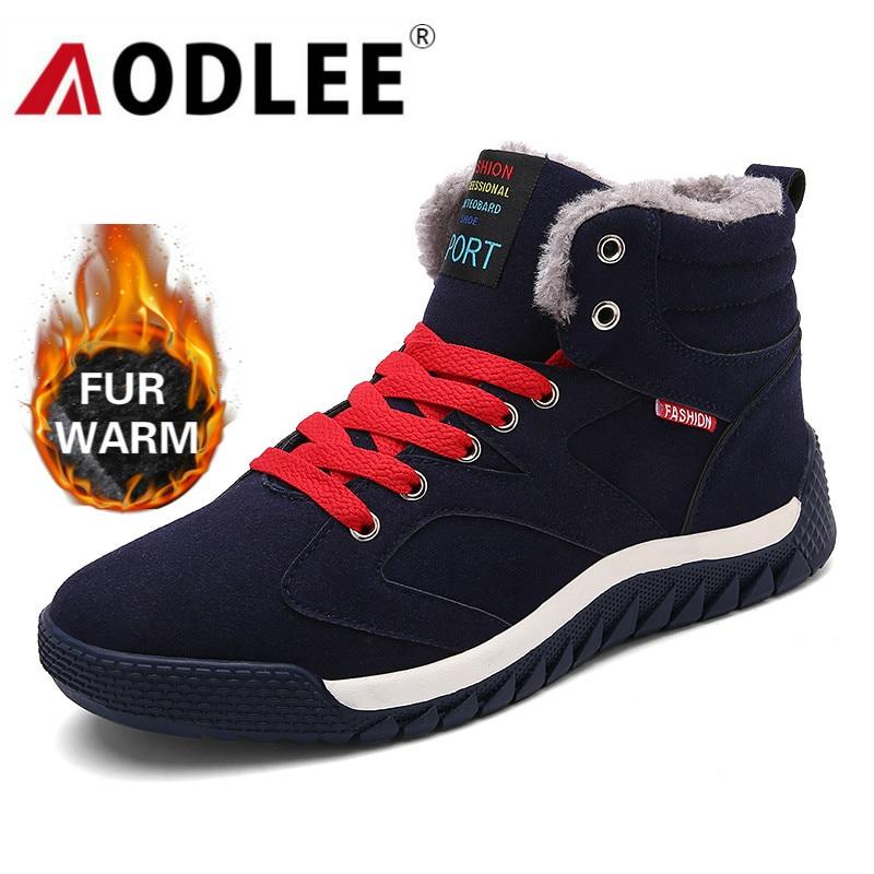 AODLEE Boots Men Plus Size 48 Men Winter Warm Snow Boots High Top Fur Boots Fashion