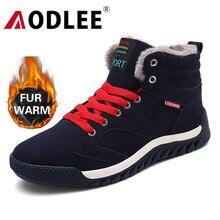 AODLEE buty mężczyźni Plus rozmiar 48 mężczyźni zimowe ciepłe buty na śnieg wysokie góry futerkowe buty moda Sneakers mężczyźni botki męskie buty Casual