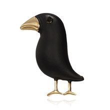 Rinhoo Crow Brooch Black Paint Bird Enamel Brooches Men Women Suits Dress Hat Collar Brooch Pins Animal Scarf Buckle Gift(China)