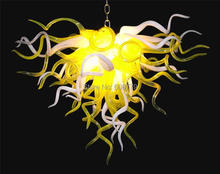 лучшая цена Wholesale Yellow and White Hand Blown Glass Wrought Iron Chandelier