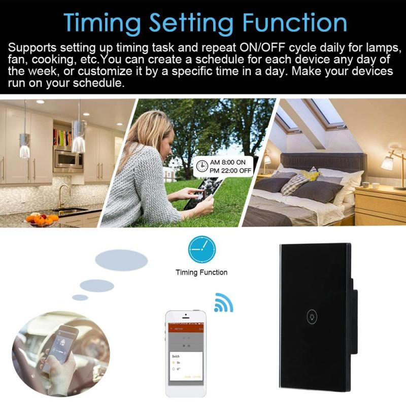 Image 4 - US WiFi Smart Switch Wireless Light Wall Switch 1 Gang Crystal Touch Panel APP Work with Amazon Alexa Google Home IFTTT Timing-in Remote Controls from Consumer Electronics