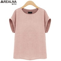 AREALNA Summer Fashion Shirt Women Tops Short Sleeves Female Blouses Casual Loose Office Blouse Blusas Femininas