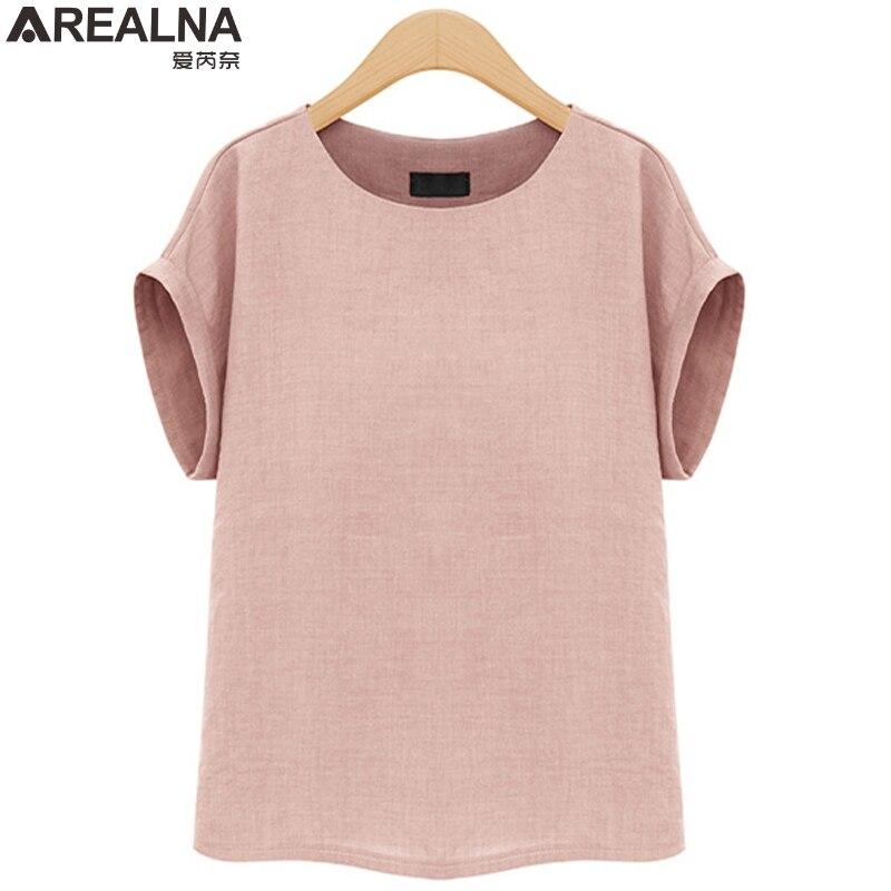 AREALNA camisa Moda Verão mulheres tops Mangas Curtas Feminino Blusas Soltas Casual escritório blusa Blusas femininas Plus Size 5XL