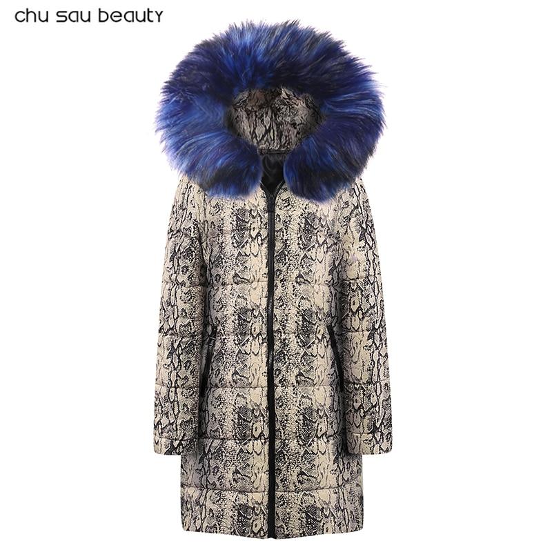 2019 womens jackets new winter snake pattern women coat jacket long woman parka padded female oversize