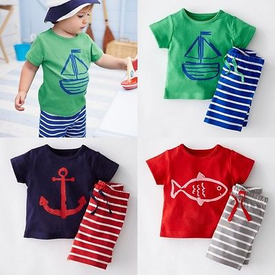 2016 Summer Baby Toddler Kids Boys Casual Sailor Suit Tops T-shirt Pants Outfits Wholesale x56 kids baby boys summer t shirt tops stripe beach pants outfits clothes sets 1 5y hot