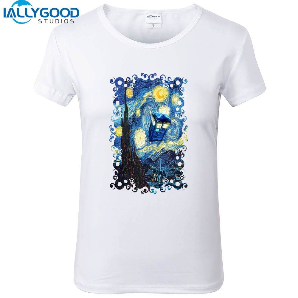 Design t shirt blue cotton - New Funny Doctor Who Design Women T Shirts Blue Phone Booth Starry The Night Printed