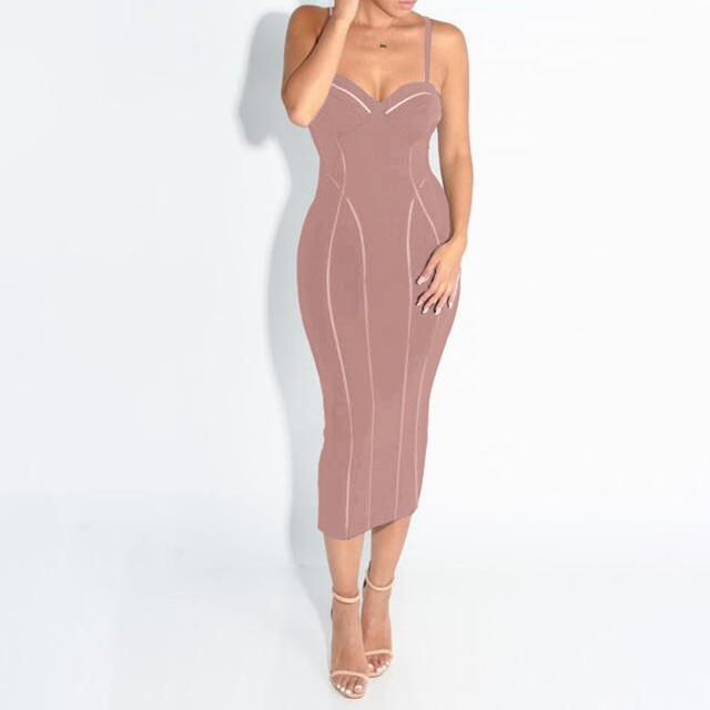 Shining Beauty Pink Spaghetti Strap Midi Solid 2017 new high quality sexy Celebrity party dresses Bandage Dress Celebrity