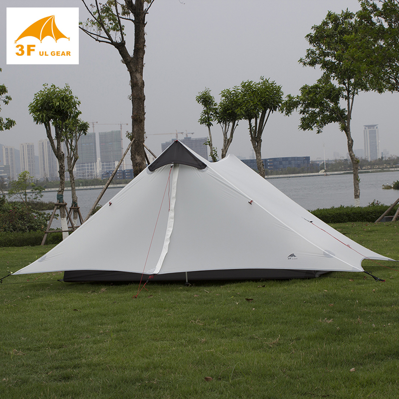 3f ul gear outdoor 2 person ultralight camping tent NONE POLES barraca de acampamento barracas para camping tente GRAY Lanshan high quality outdoor 2 person camping tent double layer aluminum rod ultralight tent with snow skirt oneroad windsnow 2 plus