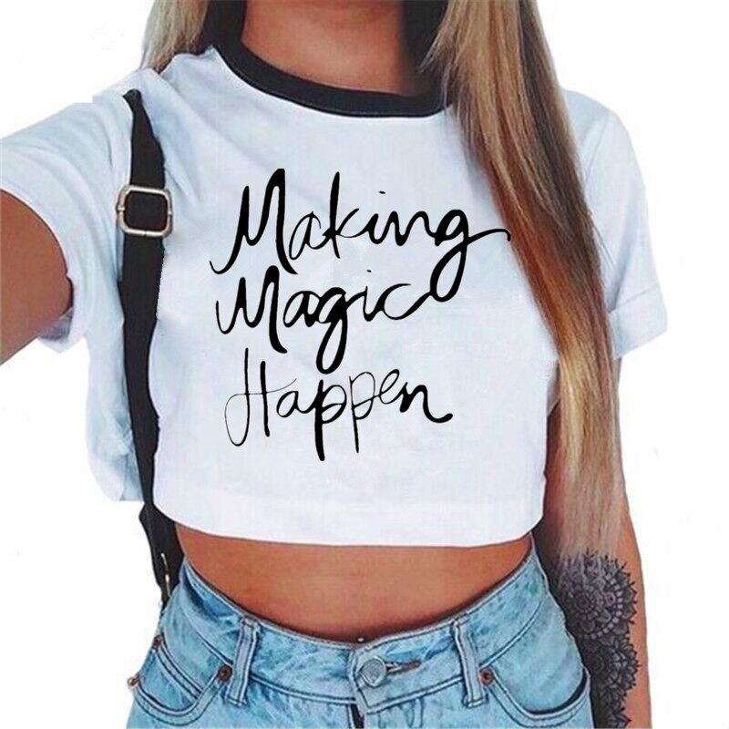 Femmes VOGUE lettre haut court à manches courtes t-shirts femmes tout nouveau T-Shirt décontracté hauts été femme t-shirt mignon recadrée haut 2
