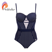 Andzhelika Stripe One-piece Swimsuit 2019 New Sexy Mesh Swimwear Backless Bodysuits Summer Beach Bathing Suit Monokini AK75140