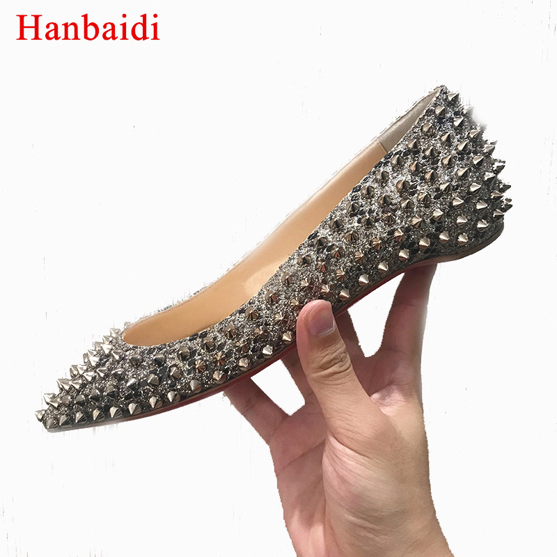 Hanbaidi Fashion Rivet Sequined Flats Shoes Women Pointed Toe Bling Bling Single Shoes Lady Wedding Shoes Women Celebrity Shoes eiswelt shoes spring summer fashion rivet flats party pointed flock women shoes wedding shoes glitter flat ladies shoes zjf84