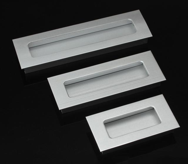 2 Pcs buraco Passo 64mm 96mm 128mm liga de Alumínio escondido punho do armário de Cozinha puxador de gaveta Mobiliário alça HM58