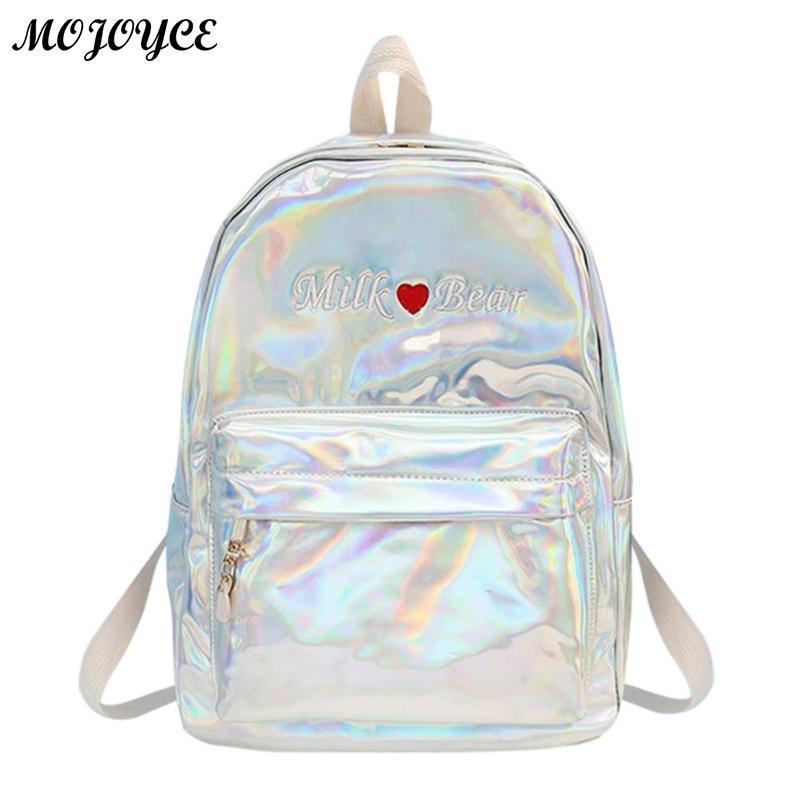 76c769eda256 Женский рюкзак Голографический лазерный PU рюкзаки женский вышивка мода  простой сумка для девочек большой Ёмкость школьные сумки