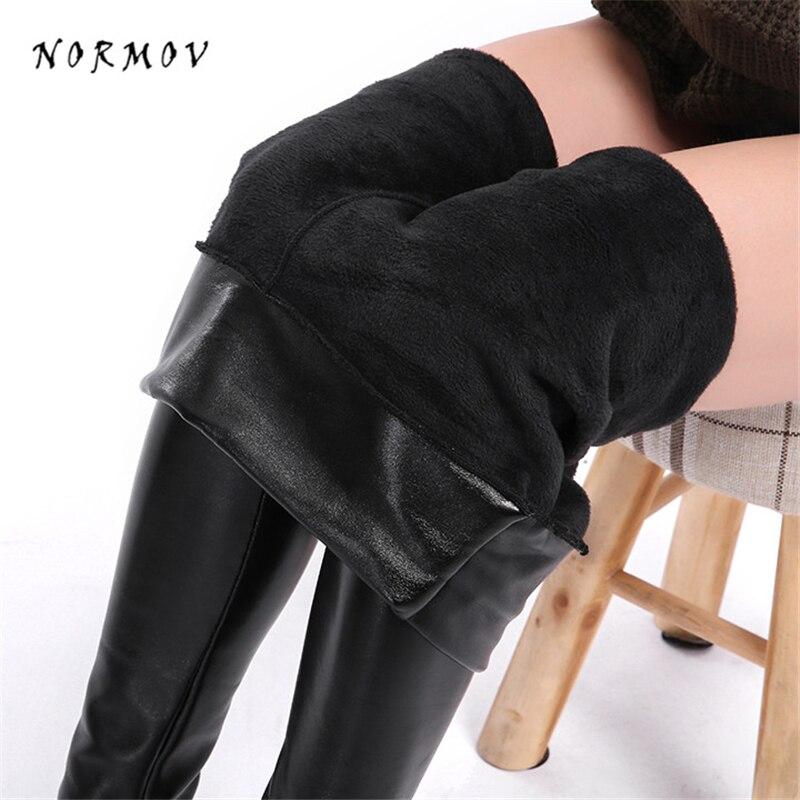 NORMOV 5XL Plus Size Velvet Leather Pants Women Warm Winter Faux Leather Leggings Ankle-Length high Waist Slim Pant For Women