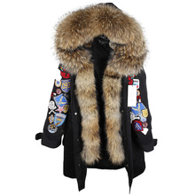 2018 new fashion XX Long Embroidery Large real Fur Hooded Parkas Coat big natural Fur women