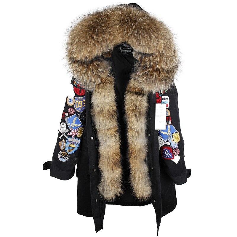2018 nouvelle mode XX-Longue Broderie Grand vraie Fourrure À Capuchon Parkas Manteau grande Fourrure naturelle femmes Militaire vers le bas vestes
