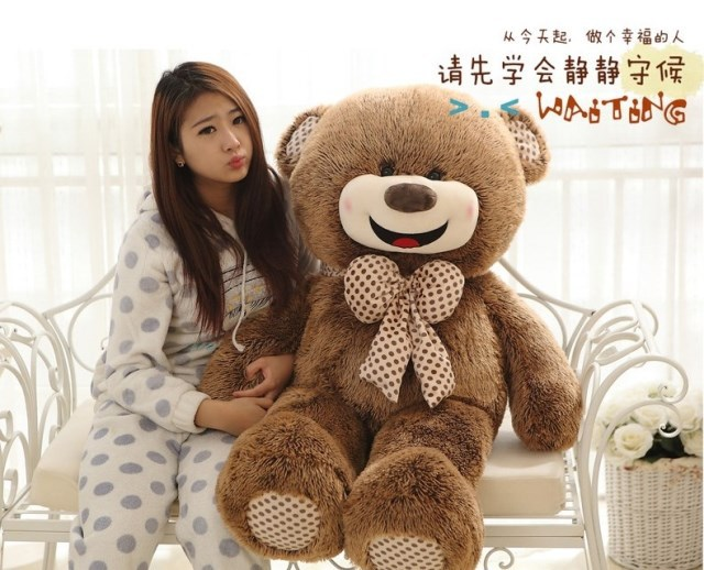 large toy happy smile face teddy bear plush toy soft throw pillow Valentine's Day present ,birthday gift t1662