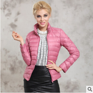 Fashion 2015 New Winter Ultralight Duck Down Jacket Women Long Sleeve Short Style Parkas Mujer Couple Compression Coat ZL0451
