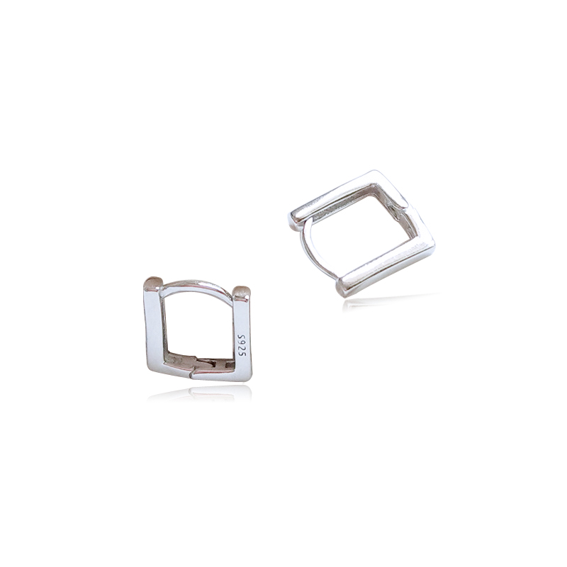 TOTASALLY Hot Cool Men's Stud Earrings 100% Real 925 Sterling Silver Fashion Stylish Tiny Square Women's Earrings For Party Show