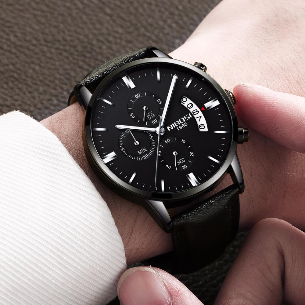 Relojes de hombre NIBOSI Relogio Masculino, relojes de pulsera de cuarzo de estilo informal de marca famosa de lujo para hombre, relojes de pulsera Saat 41