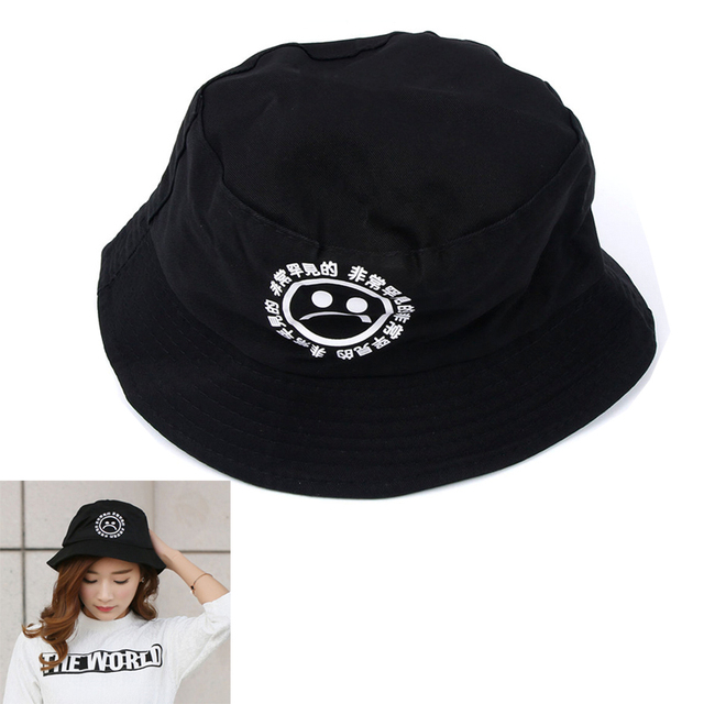 Boonie Flat Fishman Hat Summer KYC Vintage Black Bucket Hat Sad Boys Men  Women Hip Hop Fishing Cap Sprots Chapeau Panama Sunhat 747f9d0bd48
