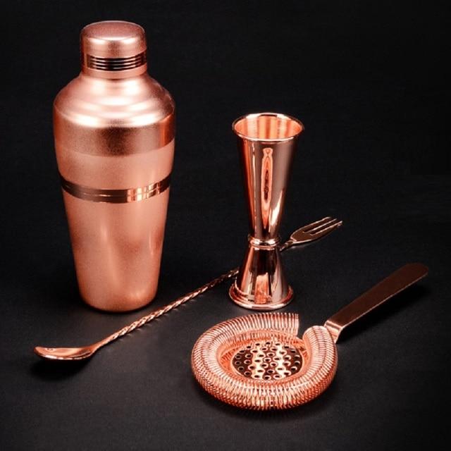 Wonderful Bar Set: Premium Copper Plated Shaker Barware Set   4 Pieces Bartender Kit  Includes Shaker
