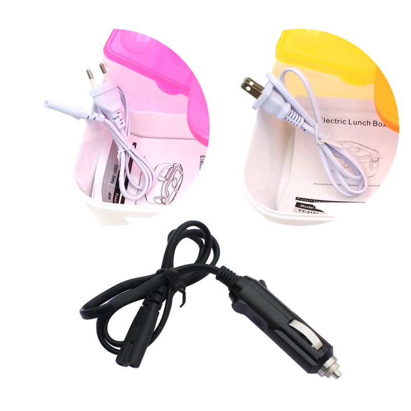 110V 220V 12V Electric Lunch Box Power Cord For Car Use Electric Heated Lunchbox EU US Plug Power Cord Adapter For Car Home