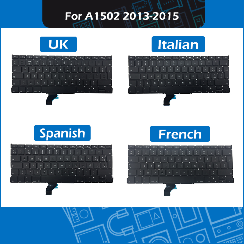 Full New For Macbook Pro 13 A1502 Replacement Keyboard UK French Spanish Italian Layout 2013 2014 2015 EMC 2678 2875 2835 image