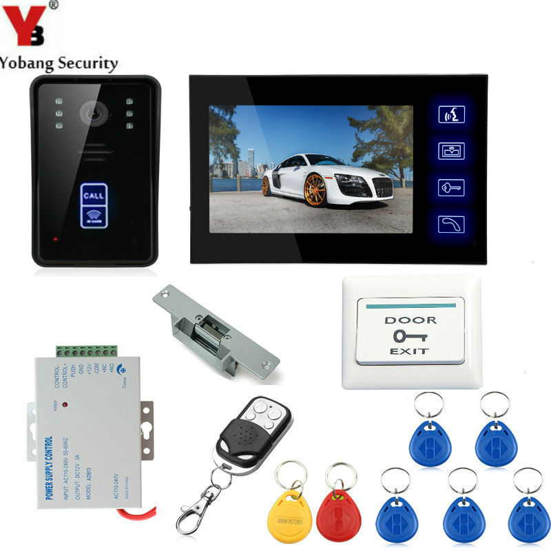 Yobang Security 7 Inch Video Door Phone Door Intercom Video Intercom Doorphone IR Night Vision Camera Monitor Kit For Home