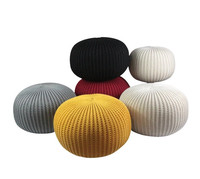 Height 30cm Knitted Pouf Can Be Seat Cushion Woolen Round Floor Ottoman