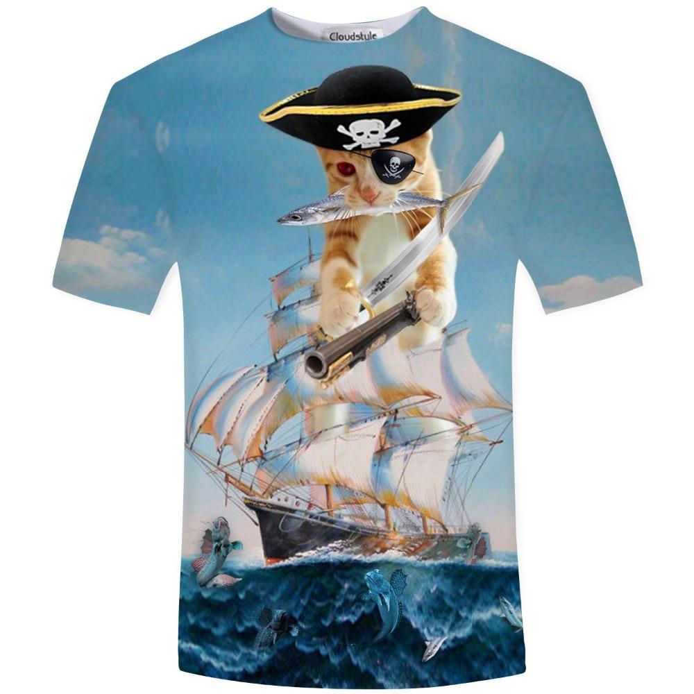 Vyriškos moterys drąsus katė ir mopsas Piratas laive - Vyriški drabužiai