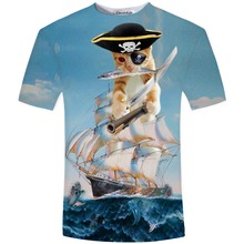 Mens Womens Brave Cat and Pug Pirate on board t shirts Sea Under the Sea Dolphin Turtle Sea Gull 3D t Shirt Dark Clouds