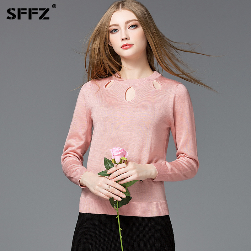 SFFZ Fashion Hollow Sweaters Women 2018 Spring Long Sleeve O-Neck Warm Pullovers Knitted Christmas Sweater Pull Jumper