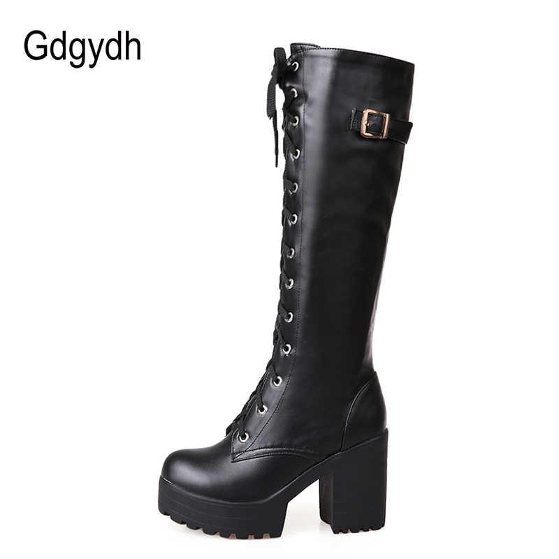 Gdgydh ขายร้อนฤดูใบไม้ผลิฤดูใบไม้ร่วง Lacing เข่ารองเท้าบูทสูงแฟชั่นสีขาวส้นสูงผู้หญิงรองเท้าหนังฤดูหนาว PU ขนาดใหญ่ขนาด 43