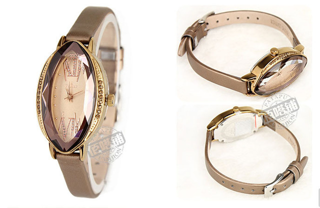 Free shipping Quartz Ladies watch Crystal Bracelet Dress timepieces  leather strap