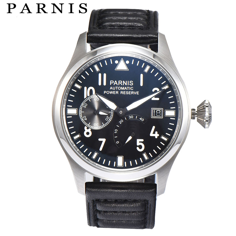 Fashion Men Watch Parnis Power Reserve Auto Date Men's Mechanical Watches Black Dial Sea-gull 2530 Automatic Movement Watch цена и фото