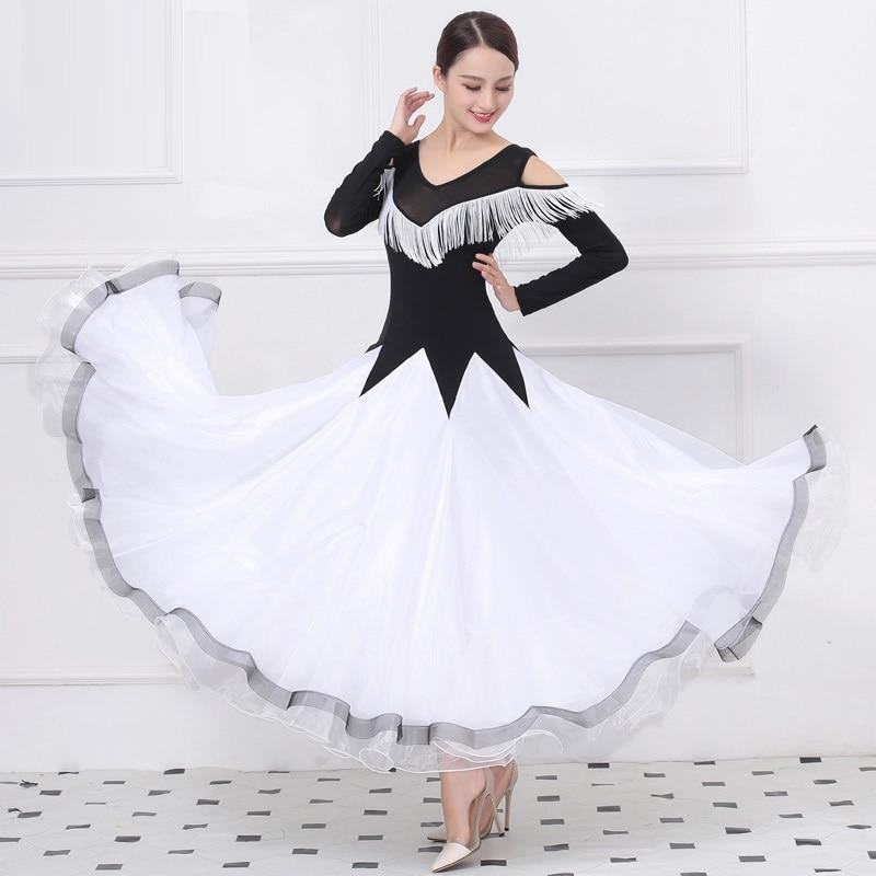 Tassel Women Dance Dress Ballroom Dance Competition Dresses Standard Ballroom Dress White Ballroom Waltz Dress Rumba Dance Wear