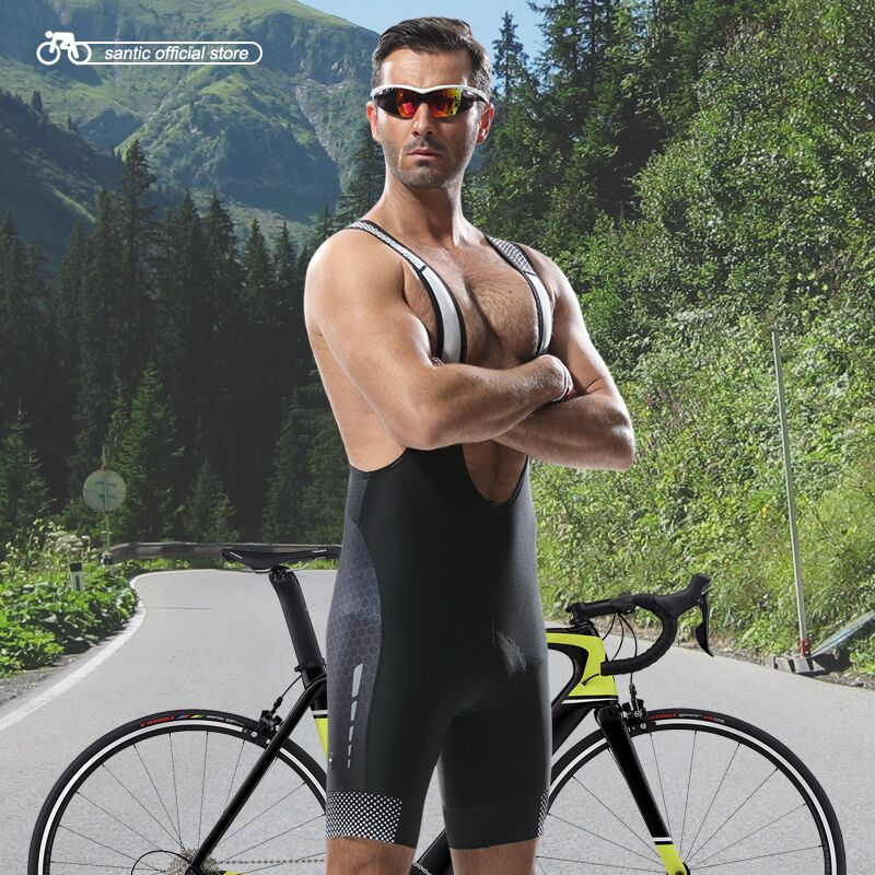 Santic Cycling Bib Shorts Men Cycling Jersey Bib Shorts Wicking Shorts Shock Proof Cushion Pad New Breathable S-XXXL 5050/5095 велошорты 15 051 men bib shorts s 922 c7 с лямками с памперсом c7 черные m funkierbike