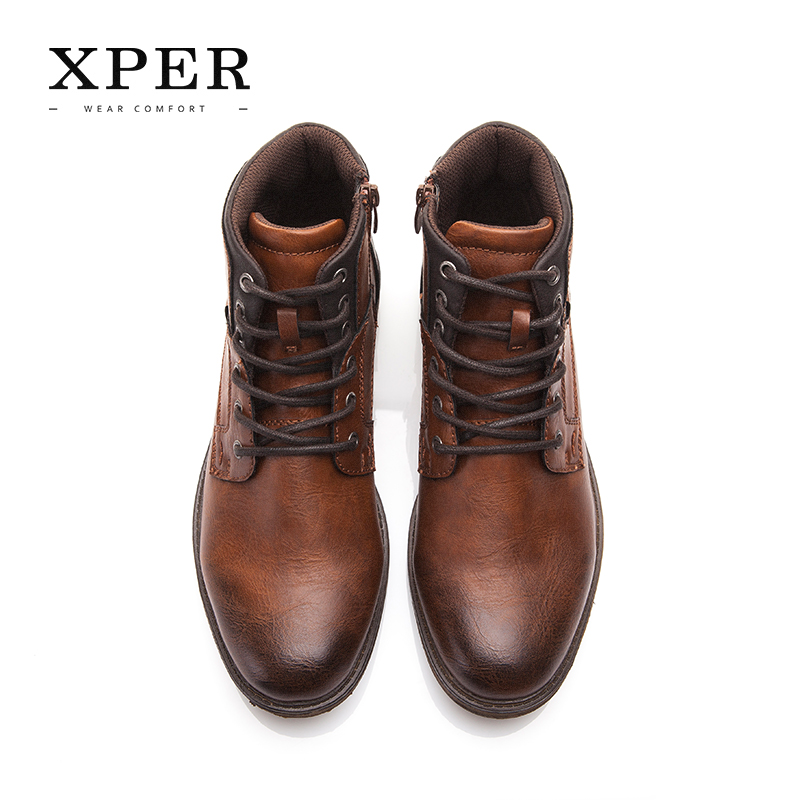 XPER Automne Hiver Hommes Bottes Grande Taille 40-48 Vintage Style Hommes Chaussures Casual Mode Haute-Cut Dentelle-up Chaud Hombre # XHY12504BR - 2
