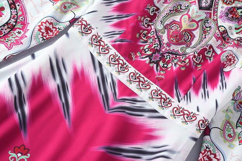 2018 Qualité Cou Haute Robe Vintage Shown Piste De Perles Femmes Printemps Longues 11106 Festa Manches Imprimer Robes À Stand As rwSOr0xA