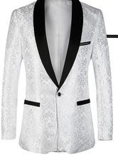 Mais recentes Modelos Casaco Calça Branca Padrão Homens Paletó Fino ajuste 2 Peça Ternos Do Noivo Do Casamento Do Smoking do baile de Finalistas Terno Blazer Masculino