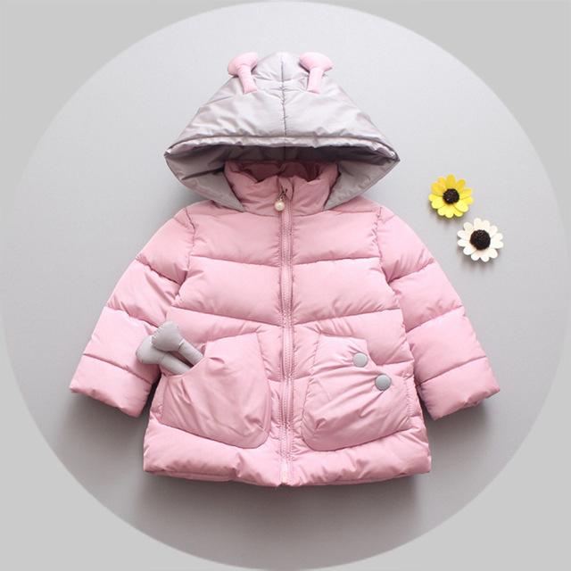 2016new otoño invierno muchacha del bebé del algodón gruesa ropa de algodón de dibujos animados de Corea 1-4 años de edad de los niños chaqueta chica envío gratis