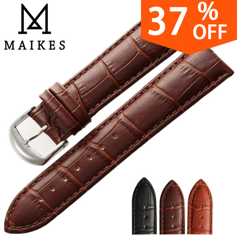 MAIKES New Design Black Genuine Calf Leather Watch Strap band 16 18 20 22 mm Good Quality Black Men Watchbands For Casio