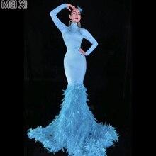 Unique ablaze Marine blue full diamond feather dress birthday celebration party banquet evening concert ball singer costum