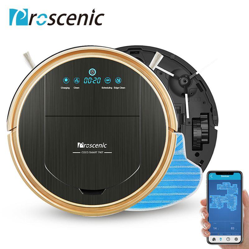 Proscenic 790 T Robot Aspirateur Max Puissance D'aspiration avec App Contrôle de Recharge Automatique Robot Aspirateur pour La Maison