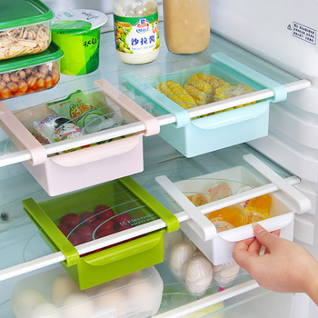 Fridge Storage Layer Separator Kitchen Refrigerator Space Saver Rack Evacuation Classification Compartment Shelf 15.5*16.5*7CM image